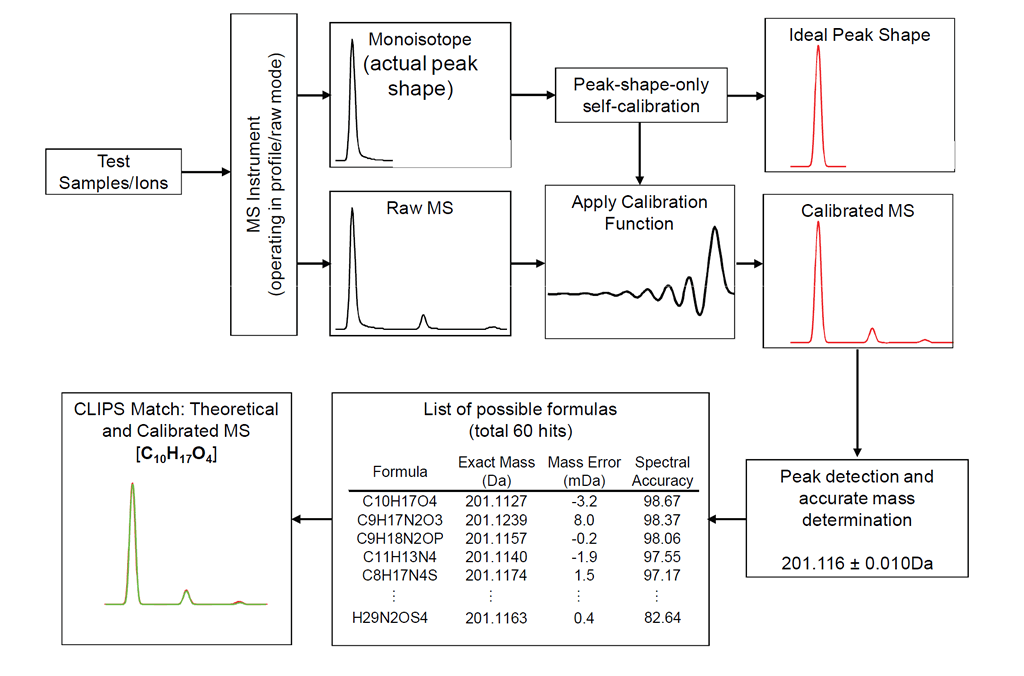 sCLIP flow diagram shows how calibration works for high resoluton MS